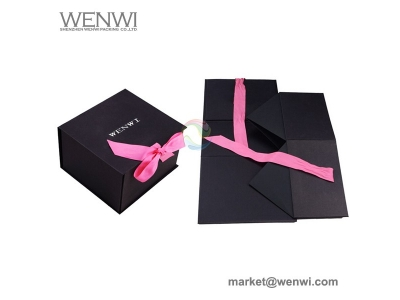 China Rectangular Black Custom Logo Folding Paper Cardboard Hat Box with Magnet