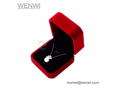 Wholesale Custom Logo Necklace Gift Packing Velvet Jewelry Boxes