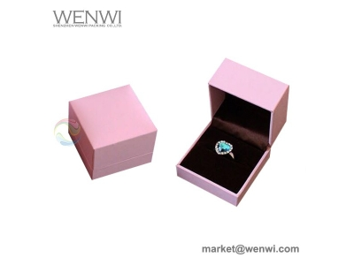 Luxury Pink Custom Logo Leather Paper Wedding Jewelry Ring Box